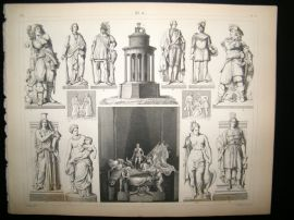 Statues/Sculpture 1857 Antique Print. 10